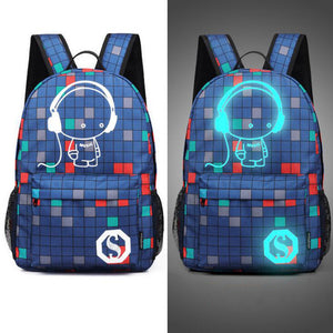 Senkey style Men's Backpack Anime Starry sky Luminous Printing Teenagers Casual