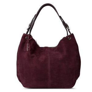 Nico Louise Women's Real Split Suede Leather Hobo Bag COLORS