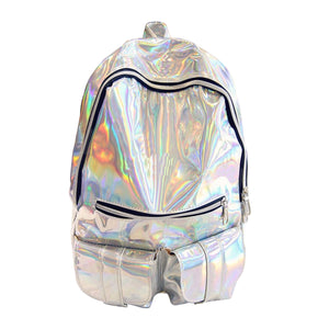 Holographic Gamma-ray Hologram backpack Silver Hologram Laser Backpack women's m