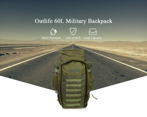 Outlife 60L Outdoor Military Style  Backpack Pack Rucksack Tactical Bag