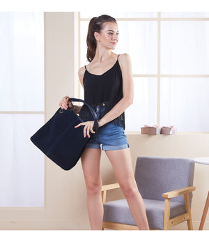 Nico Women Split Suede Leather Tote Bag Largehandle Bags Lady Casual COLORS