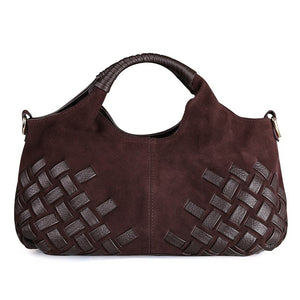 Women's Weave Suede Split Leather Handbag Casual Lady Crossbody Shoulder Bag
