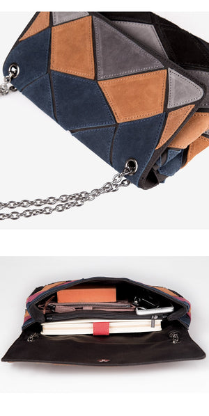 Nico Louise Suede Leather Shoulder Bag Fashion Lady Patch-color Chain Crossbody