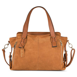 Nico Louise Women Real Split Suede Leather Boston Bag Original Design
