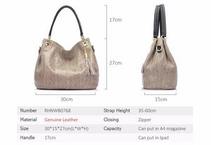 Realer Women's handbag genuine leather bag female hobos shoulder crossbody bag
