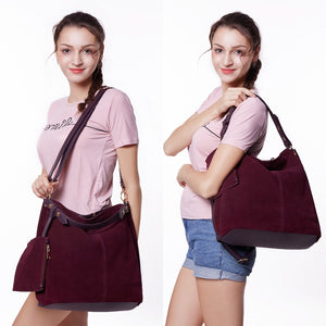Nico Louise Women Real Split Suede Leather Hobo Bag Design Female COLORS
