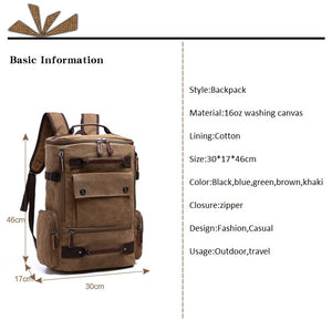 Men's Backpack 15 Inch Outdoor Rucksack Canvas Backpack. 6 Colors