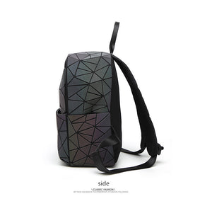 Men's and women's GLOW geometric diamond checkered backpack luminous backpack.