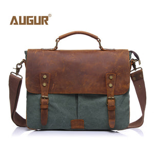 AUGUR New Men's Vintage Handbag Genuine Leather Shoulder Bag Color