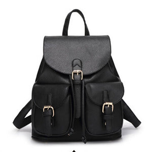 Dida Bear Women Girl Candy Color PU Leather Backpack Black Bolsas Mochila