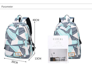 Women's Teal Gray Printed Print Backpack Blue Personalized Geometric