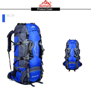 80L outdoor mountaineering bag metal frame climbing hiking backpack camping.