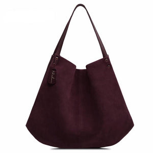 Nico Louise Women's Split Suede Leather Hobo Bag Designer Female Leisure Large Shoulder Bags