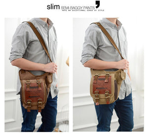 Men's Messenger Bags Over the shoulder Bag Military Canvas Leather