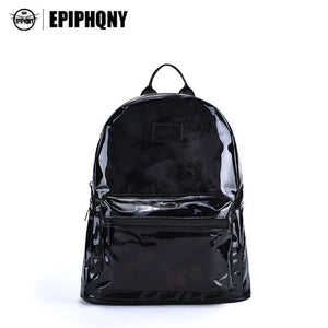 Women's Transparent and Black  Fashion Lady School Backpack Back Pack