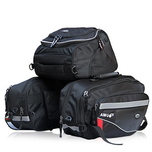AMU Motorcycle Saddle Bags bag Helmet Bag Knight Rain Tail Luggage Oxford Bags