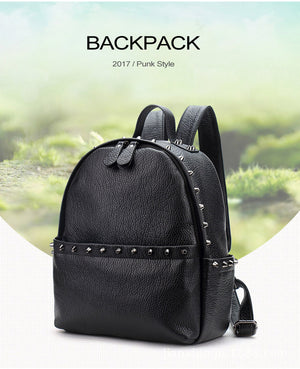 Women's Backpack PU Leather School Bags Black Small Large Back Pack