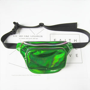 Holographic Laser Waist Fanny Bag Leather Belt Waterproof Bag