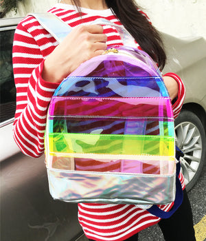 Kids Girls Clear Transparent Candy School Bag Backpack - Plastic See Through
