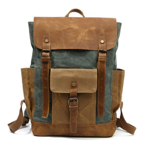 YUPINXUAN Oil Wax Canvas Cow Leather Backpack Unisex Waterproof Rucksack