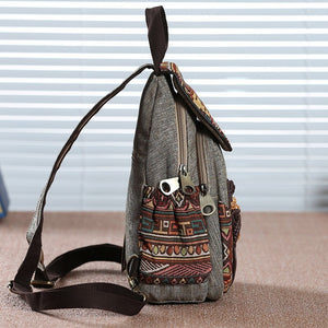 DIINOVIVO Vintage Handmade Canvas Bags Travel Mini Geometrical Printing