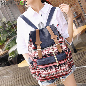 Canvas Backpack Girls Small Bohemian Vintage Printing Ladies  Rucksack 6 Choices