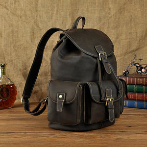 Vintage Men's Leather Backpack Genuine Cowhide Skin Bag Backpacks