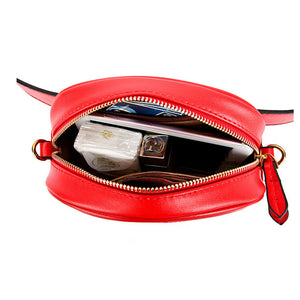 Women's rivets Waist Bag Fanny Pack Chest handbag red black PU Leather