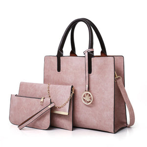 3 Pcs Leather Handbag Women Large Tote Bags Ladies Shoulder Bag. 5 Colors