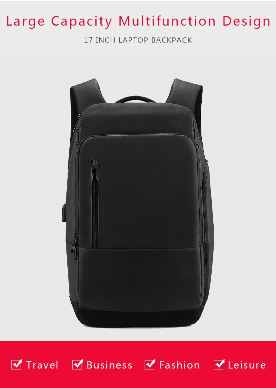 17 Inch Laptop Backpack For Men Water Functional Rucksack Usb Port