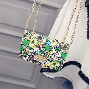 Women's Shoulder Graffiti Bag Purse Ladies Chain handbag