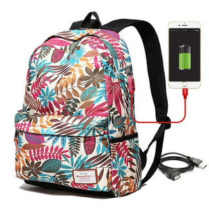 Women's USB charging colorful print material laptop backpack teenagers school backpack