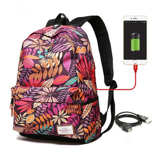 Flower USB Charging Backpack for Teen's