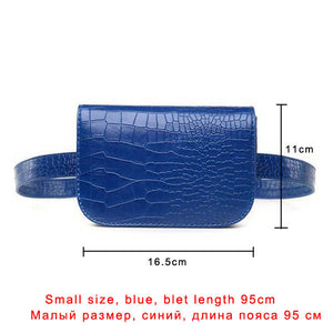 Women's Vintage Waist Bag Faux Alligator PU Leather Belt Bag Waist Fanny Pack