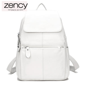ZENCY Women's Genuine Leather Backpack Brief Casual Knapsack 15 Color Choices