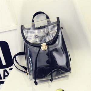Women's Teenage Transparent PVC Backpack  Clear Back Pack Preppy School Bags
