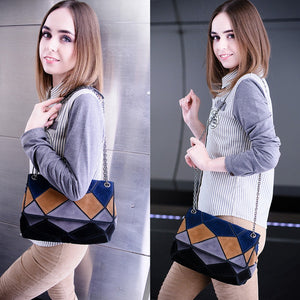 Nico Suede Leather Shoulder Bag Fashion Lady Patch-color Chain Crossbody Purse