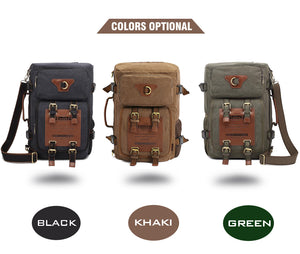 Men's vintage rucksack canvas backpack leisure travel bag. 3 Color Choices