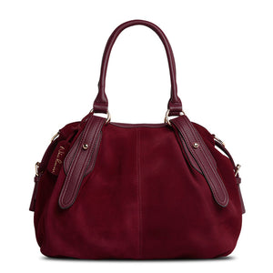 Nico Louise Women Real Suede Leather Boston Bag Lady's Shoulder Toe Bag COLORS