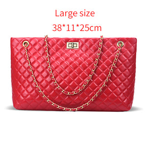 Designer Women Girl Plaid Large Tote Shoulder Bag Handbags PU Leather Chains