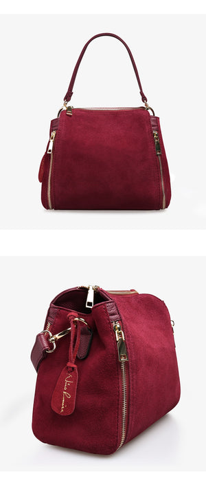 Nico Louise Women's Suede Leather Handbag Bucket Fashion Lady Shoulder Bag