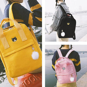 Teenage Girls Vintage Stylish School Bag Ladies Canvas Fabric Backpack Female