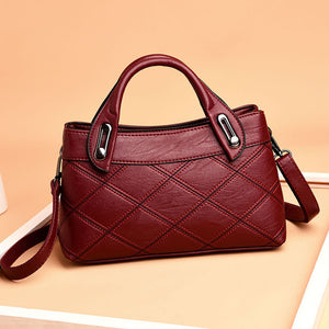 Women's Genuine Leather Handbag Plaid Tote Bag Ladies Shoulder Bags