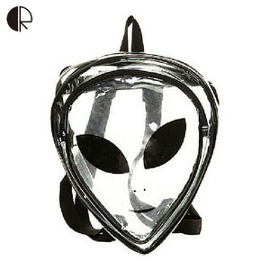 Unisex Fashion Clear Transparent See Through Cartoon Alien School Backpack PVC