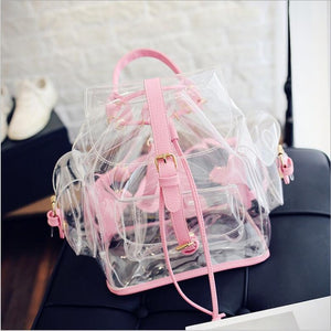Clear Plastic Transparent Backpack women girl's school PVC bag pink green