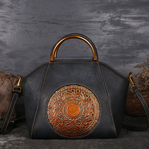 Women's Genuine Leather Handbags Ladies Retro Elegant Shoulder Bag