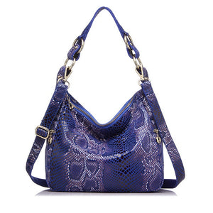 REALER women's handbag genuine leather totes female classic serpentine print