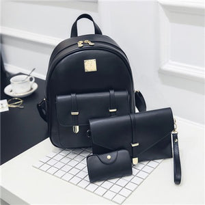 3Pcs Piece Set Small Women's Backpack Purse female Teenage Girls. 5 Colors