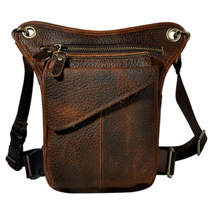 Men's Crazy Horse Genuine Leather Fanny Pack Waist Thigh Drop Leg Bag