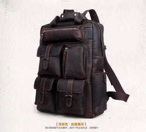 Vintage Distressed Genuine Crazy Horse Leather Men's Backpack Travel Backpack